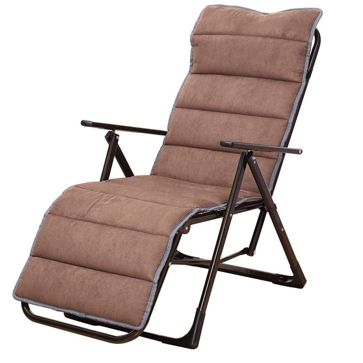 バンク交じるポータブル折りたたみ椅子ブラウン折りたたみラウンジャーシンプルなファッションチェアリビングルーム多機能ガーデンチェアコットンリムーバブルパッド