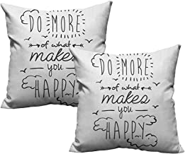 RuppertTextile Customized Pillowcase Quotes Do More of What Makes You Happy Clouds Achievement Attitude Positivity Print Without core W14 xL14 2 pcs