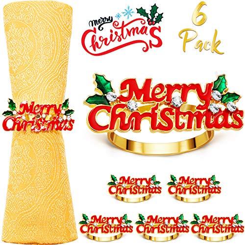 6 Stücke Weihnachten Serviettenringe Merry Christmas Servietten Halter Bling Weihnachten Serviettenringe für Weihnachten Abendessen Party, Hochzeit Schmuck, Tisch Dekoration Zubehör