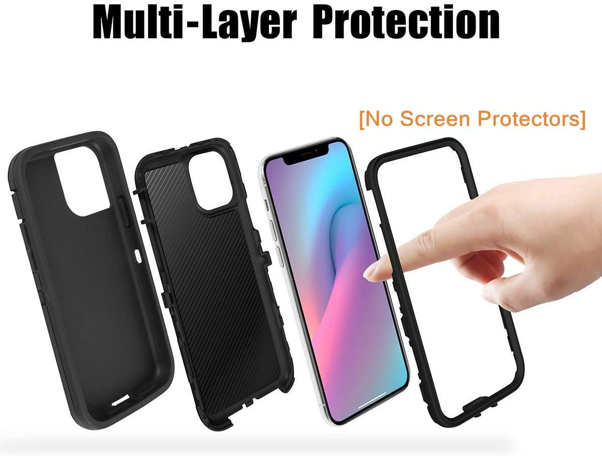 Compatible for iPhone 12 Pro/iPhone 12 (6.1 Inch),[NO Screen Protector][Heavy Duty][Drop Protection] Tough Case for iPhone 12 Pro/iPhone 12 Multiple Layers with Holster/Clip Blue