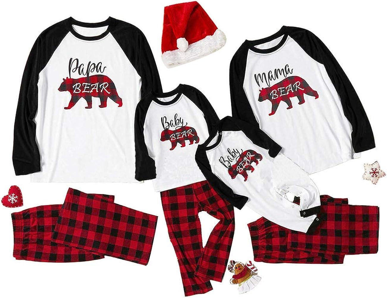 TOJONOZO Matching Christmas Pajamas Sets for Family Women Men Kids Long Sleeve Pjs Reindeer Loungewear