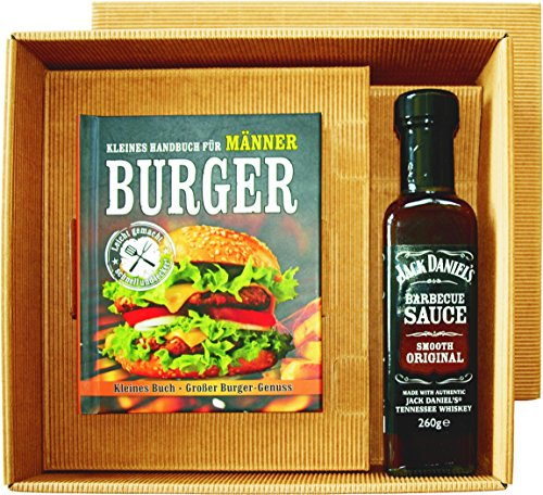Burger Handbuch Männer Burger Buch mit Jack Daniel's BBQ Sauce im Geschenk Set