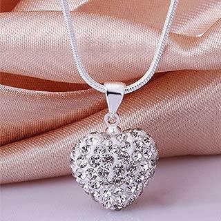 Phetmanee Shop Women Fashion 925 Sterling Silver Crystal Heart Pendant Necklace Chain Jewelry