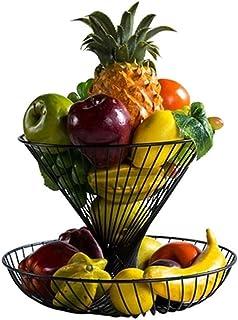 Assiette de fruits Creative deux couches Fruit Basket grande capacité fruits secs bol Bracket Salon Support de rangement D...