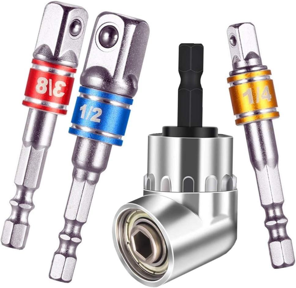 1//43//81//2Hex Shank Impact Grade Driver Universal Socket Adapter Set,Universal Socket Adapter Set+105 Right Angle Drill,Drill Impact Adapter,Drill Impact Wrench,Impact Drill Sockets,Impact Driver