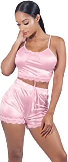 Women Sleeveless Lace Crop Top Camisole and Shorts Pajamas Sleepwear Set