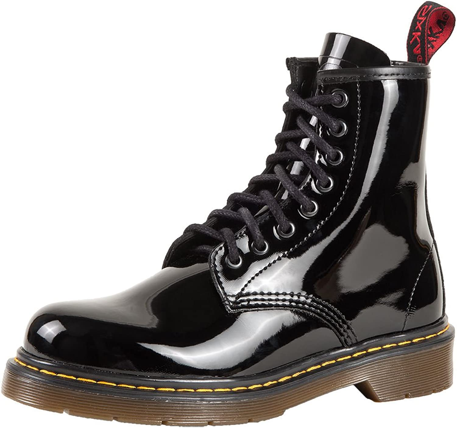 SK7 Women's Hot Stylish Coventry Gloss Leather Fashion Ankle Boots Piano Black - 9
