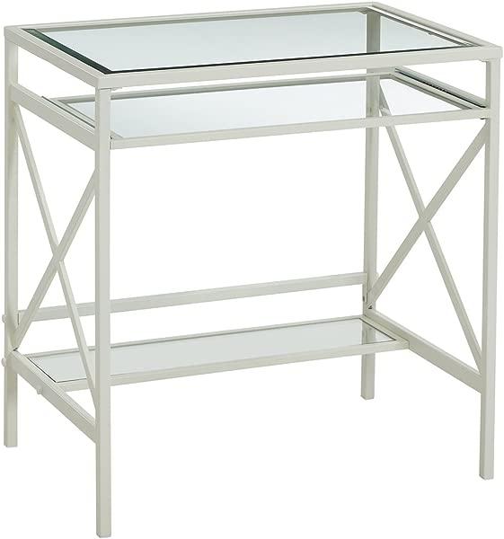 Glass Top Desk With Sliding Keyboard Tray Writing Desk W Metal Frame