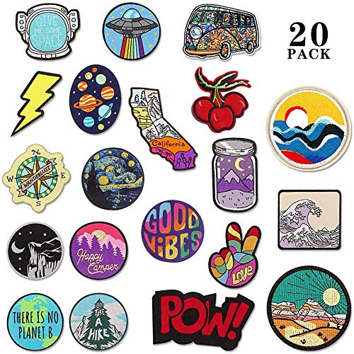 20pcs Vintage Random Patches Iron on for Clothing, Jackets Embroidered Patches Suitable for Clothes Dress Hat Pants Shoes Curtain, DIY Embroidery Patch Sewing Craft Decoration