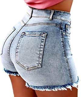 2749be1564 Vertvie Femme Jeans Shorts Taille Haute Denim Pantalon Court Bermudas  Skinny Stretch Push Up Hanche Mini