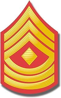 Military Vet Shop USMC US Marine Corps E-8 First Sergeant RED/Gold Chevron Window Car Bumper Sticker Vinyl Decal 3.8