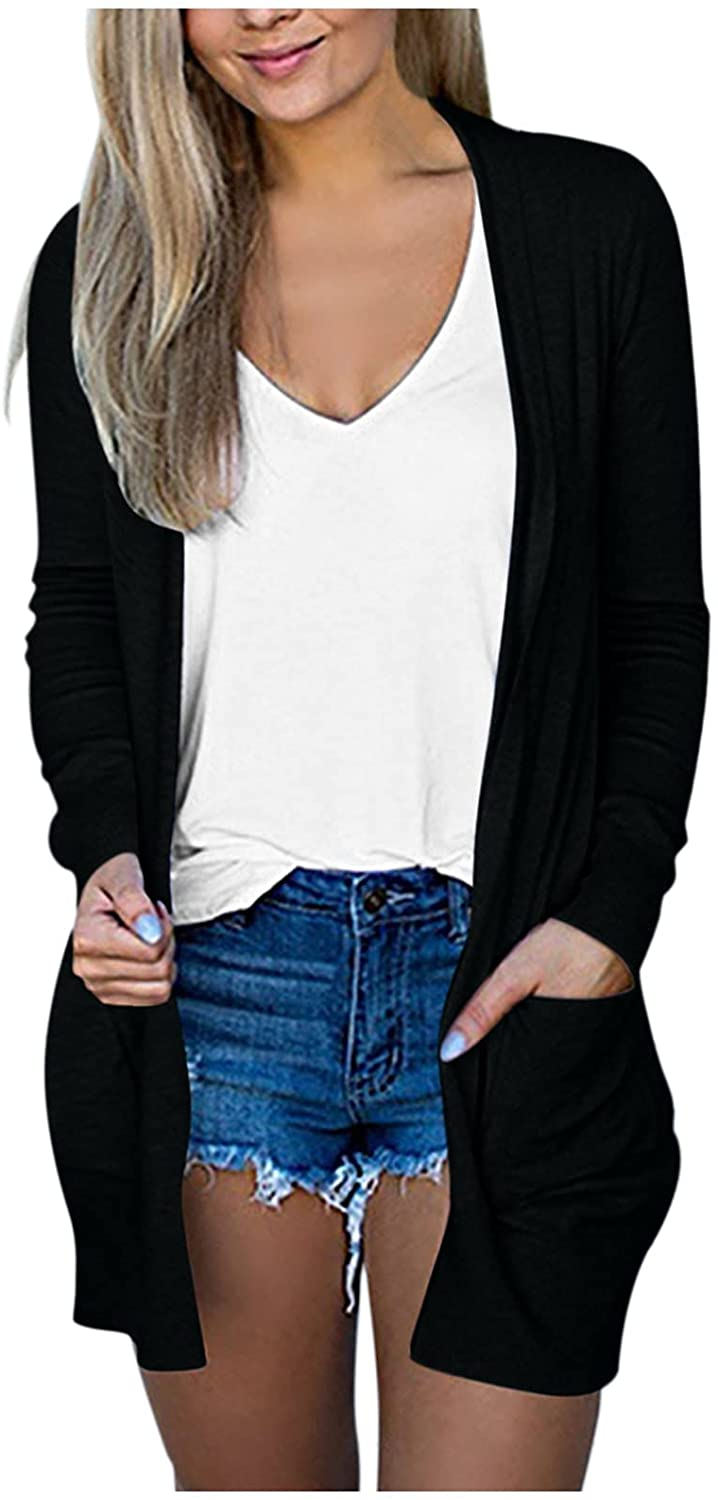 Kingspinner Women's Lightweight Open-Front Cardigan Sweater Long Sleeve Coat with Pocket Long Soft Basic Knit Slim Outerwear