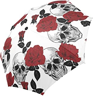 INTERESTPRINT Sugar Skull and Red Roses Windproof Automatic Folding Travel Umbrella, Lightweight Compact Auto Open and Close Umbrella with UV Protection