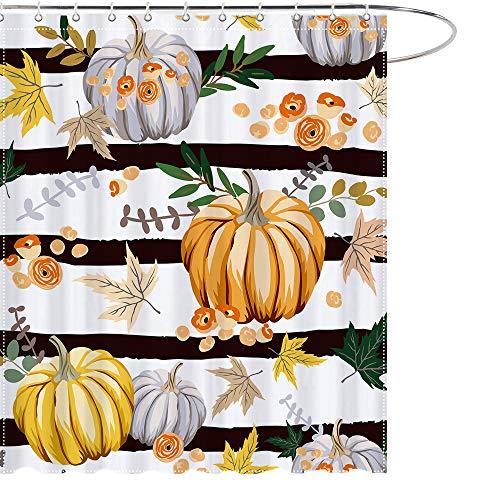 MAEZAP Herbst Streifen Kürbis Duschvorhang Herbst Bauernhaus Badezimmer Dekor Wasserdicht Polyester mit Haken 175 x 177 cm