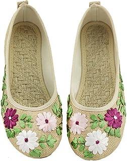 Gaorui Women's Vintage Embroidery Ballerina Flats Old Peking Slip On Linen Shoes