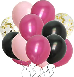 Hot Pink Balloons Assorted Black Gold Pink Party Decorations for Bachelorette Bridal Baby Shower Women Birthday (Latex Pink + Gold Confetti)