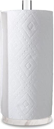 """high quality Worhe Natural outlet online sale Marble Paper Towel Holders Acrylic Standing Kitchen Paper Towel Rack with 5.5"""" Diameter White Marble Base, sale Paper Towel Dispenser for Kitchen Bathroom(YGC002) online sale"""