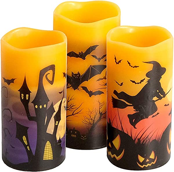 Eldnacele Halloween Flameless Flickering LED Candles With 6 Hour Timer Battery Operated Wax Candles Assorted Decals Witch Bats Castle Set Of 3 For Decoration