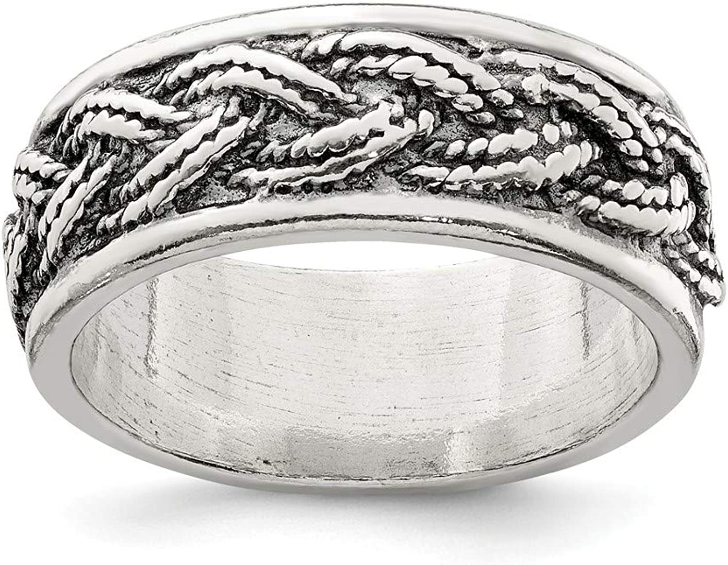 Beautiful Sterling silver 925 sterling Sterling Silver Rope Weave Design Ring