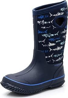 SOLARRAIN Boys' Neoprene Rubber Waterproof Sharks Snow Boots for Kids Winter Warm Lightweight Outdoor Durable Rain Boots
