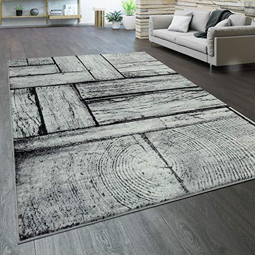 Paco Home Designer Wohnzimmer Teppich Modern Holz Optik Rustikal Grau Schwarz, Grösse:160x220 cm