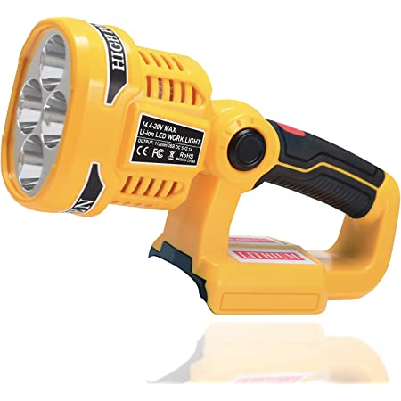 LUSAF Work Light Replacement for DeWalt 20V Max LED Tool Light DCL043 Flashlight DCL040, 12W 1120LM Flood Light Compatible with DeWalt 20V Max Lithium ion Battery
