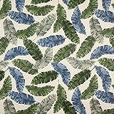 Dekostoff Halbpanama Palmenblätter – dunkelgrün/blau — Meterware ab 0,5m — STANDARD 100 by OEKO-TEX® Produktklasse II — zum Nähen von Kissen/Tagesdecken, Gardinen & Tischläufer