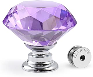 CZC HOME 10 PCS Diamond Crystal Glass Pull Handle Cabinet Knobs Cupboard Drawers Cabinet Dresser Bookcase Wardrobe (30mm, Purple)