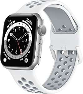 Marlova Compatible with Apple Watch Bands 41mm 40mm 38mm, Soft Silicone Breathable Air Hole Sport Wristbands with Classic Clasp for iWatch Series Se/7/6/5/4/3/2/1, White/Light Grey 38mm 40mm 41mm