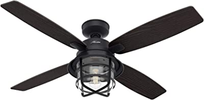 Hunter Fan Company 50391 Hunter Port Royale Ceiling Fan with LED Light and Remote Control, Natural Iron Finish, 52