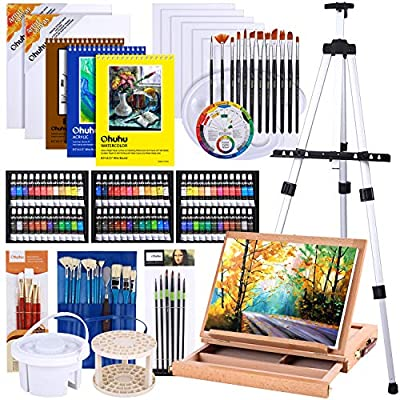 Artist Painting Set, 128Pcs Artist Set W/ Table-Top & Field Easels, Art Painting Brushes, Paint Tubes, Painting Pads, Canvas Boards, Painting Knife for Oil, Watercolor, Acrylic Painting & Art Sketch