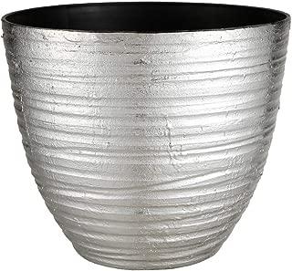 FANTASTIC :) 14-INCH Shinny Finish Decorative Plastic Planters Flower Pot (1-Pack, Wrinkle Shiny-Silver)