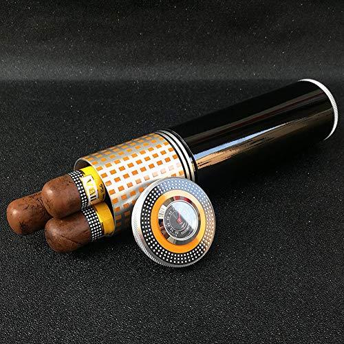 Tragbarer Reise-Hygrometer und Luftbefeuchter für Zigarren Schlauch Zigarren Gold Mini Travel Couch oder Terrasse in ca. Zigarren Brown Handbuch Krokodil-Muster-Tubes,Schwarz