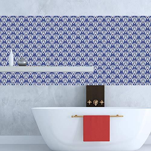 CHENGGONG Retro Impermeable diseño Autoadhesivo Antideslizante Pegatinas de Suelo patrón de Flores Pegatinas de Azulejos, Pegatinas de Suelo, Puertas de Muebles, Cocina para baño