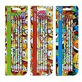 SPIRIT Bleistifte Rund mit Radiergummi Happy 4 Stk, 405746, Farbig seortiert