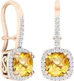 10K 6 MM Each Cushion Gemstone & Round White Diamond Ladies Dangling Drop Earrings, Rose Gold