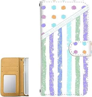 HUAWEI nova lite 3 (POT-LX2J) ケース 手帳型 ミラータイプ 【水玉:スカイブルー】 りぼん ストライプ ヴィンテージ レトロ柄 ノバライトスリー スマホケース 携帯カバー [FFANY] dotboder-190801m
