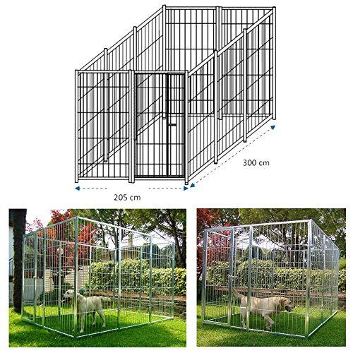 AZIMUTHBRICO Box per Cani Singolo da Esterno Recinzione in Rete Zincatura Elettrolitica Dimensioni 300 x 200 x h 180 Cm