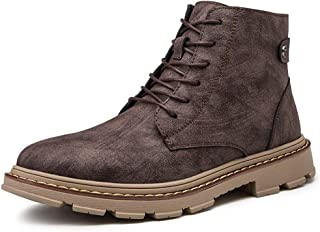 Xiang Ye Ankle Boots for Men Retro High Top Shoes Lace up Genuine Leather Round Toe Solid Color Good Welted Construction Anti-Slip (Color : Brown, Size : 7 UK)