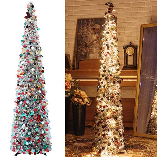 Pop-Up Artificial Christmas Tree with 100LED Lights ,Collapsible Pencil Christmas Trees for Holiday Carnival Party Christmas Decorations (Silver Color)