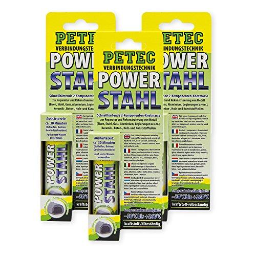 Petec_bundle 3X PETEC Power Stahl Knetmasse Flüssig Metall Kleber Metallkleber 50 G SB-Karte 97450