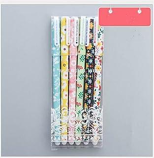 Royare of School Supplies 6Pcs/Set Color Floral Gel Pen Office Stationery Creative Study Set(Secret Garden Color Ink)