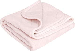 """TILLYOU Allergy-Free Quilted Cotton Baby Blanket for All Seasons, Lightweight Warm Toddler Bed Crib Blanket, Super Soft and Breathable Daycare Nap/Nursery Sleeping Blanket, Heather Pink 39""""x39"""""""