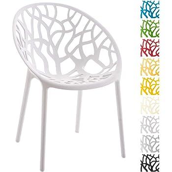 CLP Gartenstuhl Hope aus Kunststoff I Wetterbeständiger Stapelstuhl mit Einer max. Belastbarkeit von 150 kg I erhältlich, Farbe:weiß