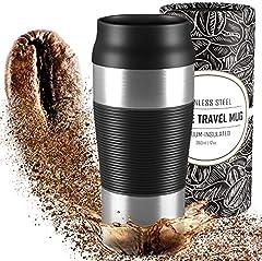 Termo Café para Llevar, Taza Termica de Viaje Acero Inoxidable 360 ml | Pequeño, sin BPA, Antigoteo, Reutilizable, Doble Pared Aislado al Vacío, Apto para Lavavajillas | Vaso Hermetico Té Caliente