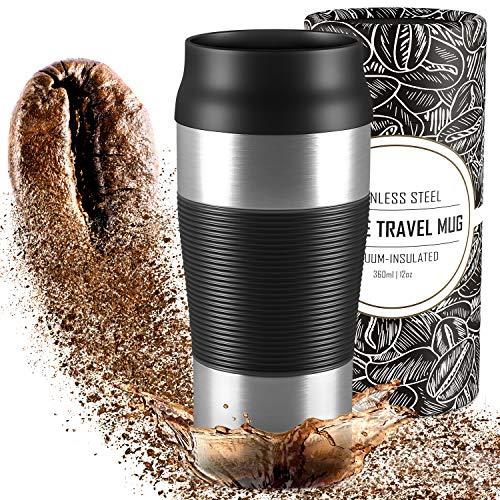 Mug Isotherme Transportable en Acier Inoxydable – 360 ml | Tasse à Café Inox Double-Paroi isolée sous-vide, sans BPA, étanche, lavable au lave-vaisselle | Thermos de voyage réutilisable Thé