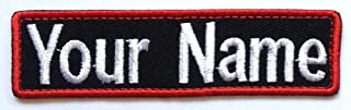 Lan Stang Custom Embroidered Name Tag Name Badge Iron-On Sew-On Patch 1x4 inches (Black Fabric-Red Border)