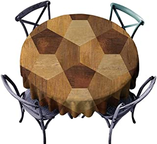 DILITECK Dining Round Tablecloth Retro,Abstract Parquet Flooring Wooden Rustic with Geometric Monochrome Pattern,Brown Pale Brown Outdoor Picnic Tablecloth Diameter 54 inch