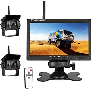 "$95 » Hodozzy Wireless Car Backup Camera, HD Dual Rear View Backup Camera for Truck, 7"" Monitor System Kit for Bus/Trailer/RV/Ca..."