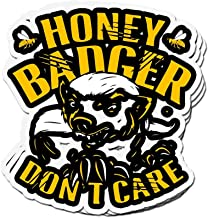 shopdoz 3 PCs Stickers Honey Badger Don't Care, Beekeeper 4 × 3 Inch Die-Cut Wall Decals for Laptop Window